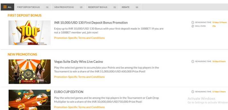 Updated Welcome Promotions at 188Bet India 2021